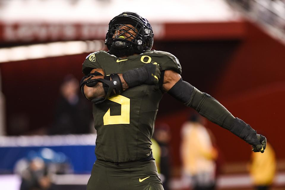 Oregon's Kayvon Thibodeaux has been dominant in two Pac-12 title games the past two seasons. (Photo by Cody Glenn/Icon Sportswire via Getty Images)