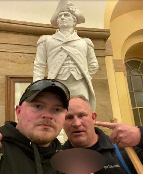 PHOTO: This Jan. 6, 2021 photo from a complaint and arrest warrant shows Rocky Mount Police Department officer Jacob Fracker and Sgt. Thomas Robertson at the Capitol.  (United States Capitol Police)