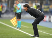 Inter Milan's head coach Simone Inzaghi reacts during the Champions League group D soccer match between Shakhtar Donetsk and Inter Milan at the Olimpiyskiy Stadium in Kyiv, Ukraine, Tuesday, Sept. 28, 2021. (AP Photo/Efrem Lukatsky)