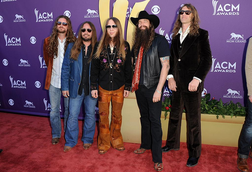 """<p class=""""MsoNormal"""">Country rockers Blackberry Smoke brought their '70s vibe to the show with their long hair, funky pants, and shades. </p>"""