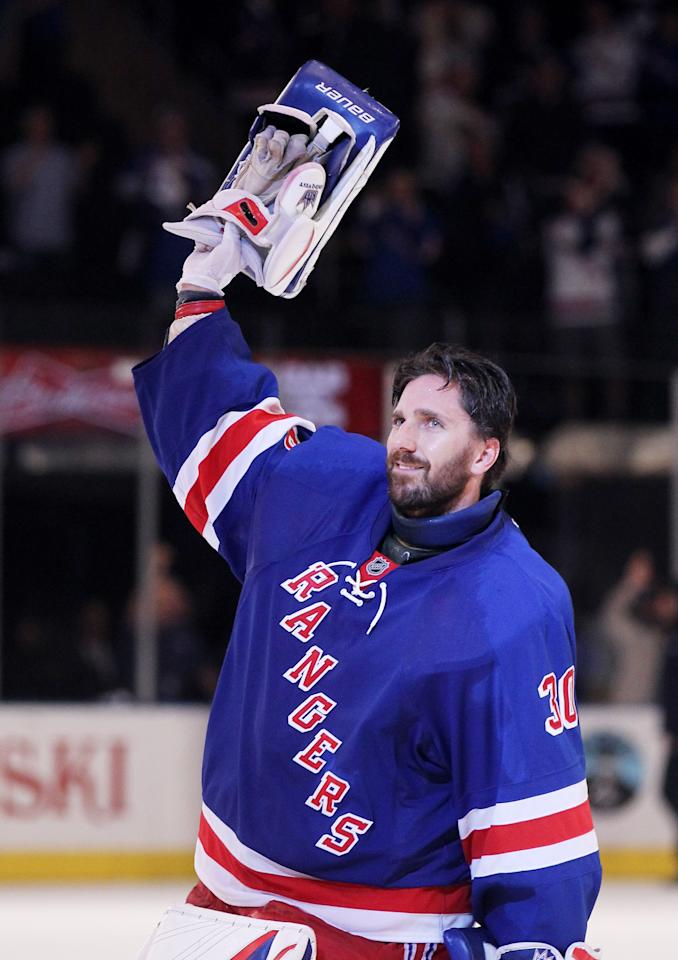 NEW YORK, NY - MAY 14:  Henrik Lundqvist #30 of the New York Rangers waves to the crowd after their 3 to 0 win over the New Jersey Devils in Game One of the Eastern Conference Finals during the 2012 NHL Stanley Cup Playoffs at Madison Square Garden on May 14, 2012 in New York City.  (Photo by Bruce Bennett/Getty Images)