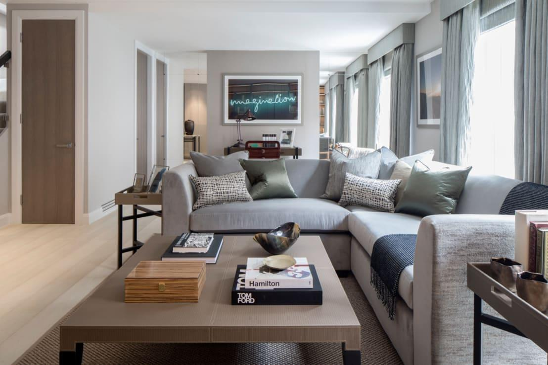 <p>How would a grey sofa, ottoman, or other furniture piece look in your grey living room? Quite nice, actually! </p><p>We especially love the idea of using floor-to-ceiling, built-in bookcases in the same soft shade of grey as the walls, allowing it to blend seamlessly with the rest of the room. </p><p>Feel free to introduce splashes of other hues (i.e. reds, blues, yellows) in the form of books and other décor pieces such as scatter cushions.</p>  Credits: homify / Roselind Wilson Design