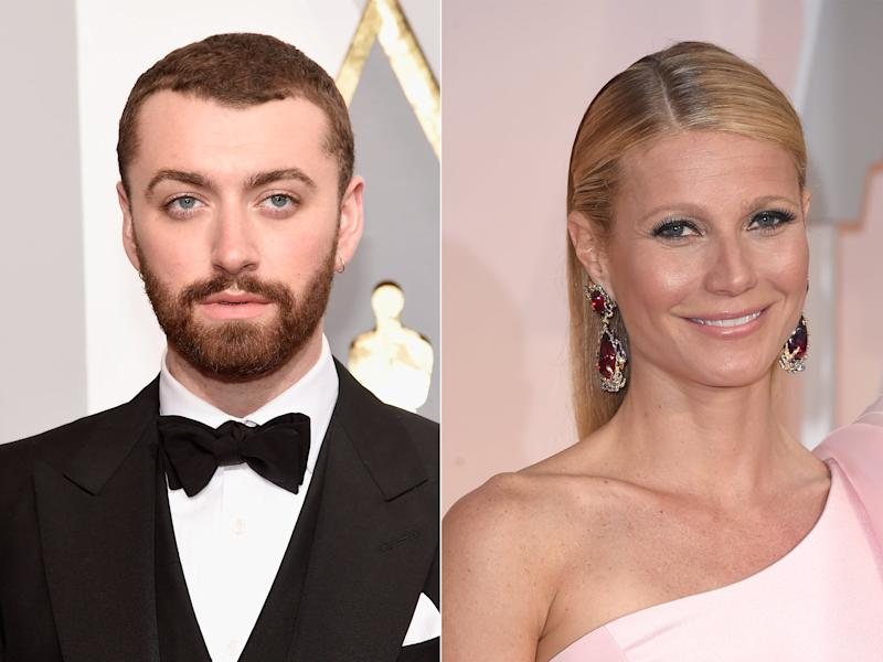 Singer Sam Smith attends the 88th Annual Academy Awards at Hollywood & Highland Center on February 28, 2016 in Hollywood, California. Actress Gwyneth Paltrow attends the 87th Annual Academy Awards at Hollywood & Highland Center on February 22, 2015 in Hollywood, California: Getty
