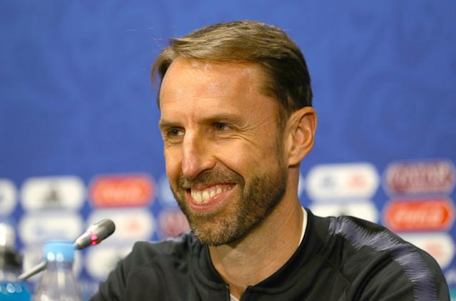Cool and collected: Gareth Southgate addresses the media before England's semi final. (Aaron Chown/PA)