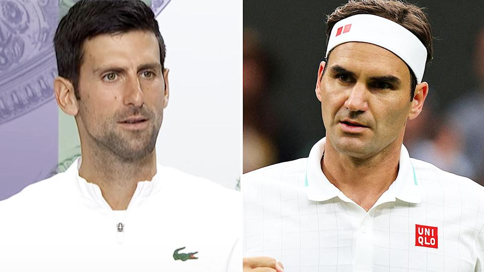 Novak Djokovic is coming for Roger Federer's record at Wimbledon. Image: Wimbledon/Getty