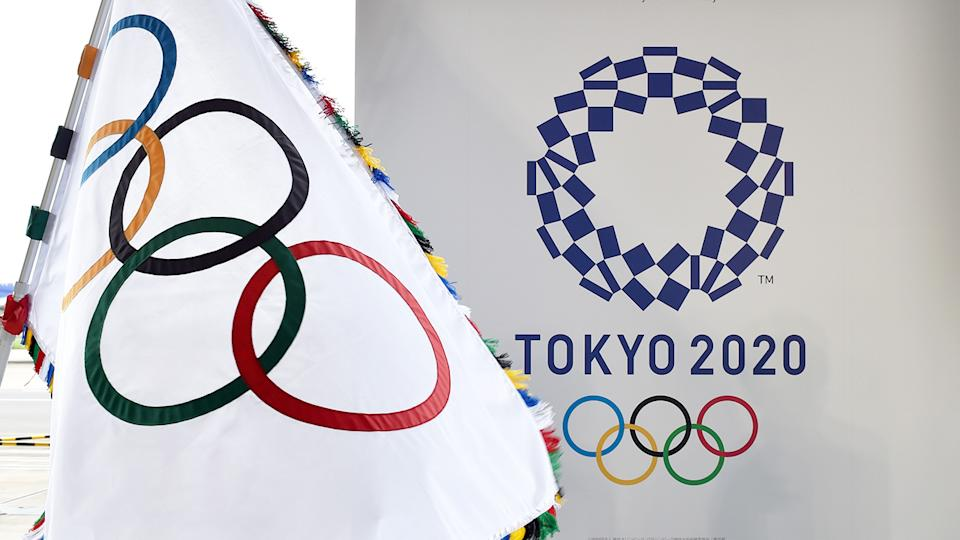 The Olympic flag and logo for the Tokyo 2020 Olympics, pictured here at the official flag arrival ceremony.