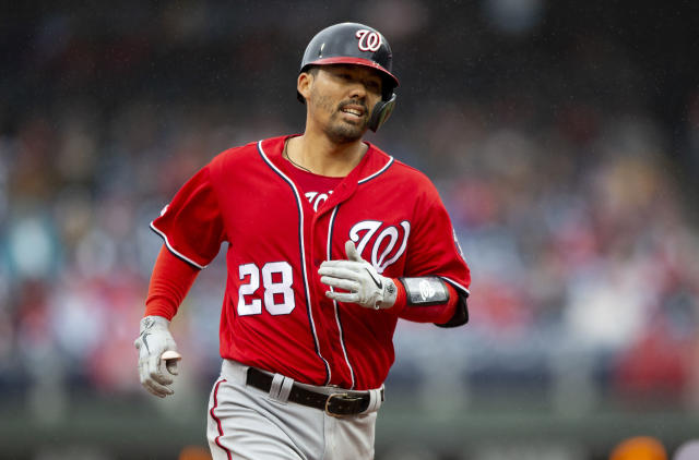 Washington Nationals' Kurt Suzuki (28) runs the bases after hitting a home run during the fourth inning of a baseball game against the Philadelphia Phillies, Sunday, May 5, 2019, in Philadelphia. (AP Photo/Laurence Kesterson)