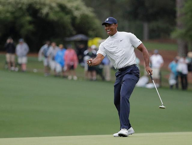 Tiger Woods reacts to his birdie putt on the 15th hole during the second round for the Masters golf tournament Friday, April 12, 2019, in Augusta, Ga. (AP)