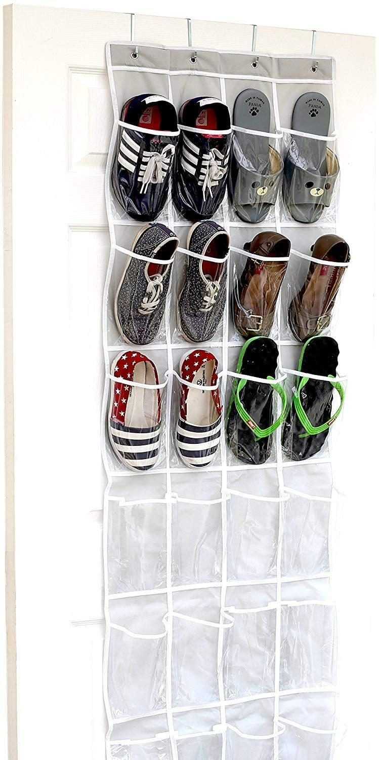 "<p>You can't go wrong with a classic, and the <a href=""https://www.popsugar.com/buy/Simple-Houseware-Crystal-Clear-Over-Door-Hanging-Shoe-Organizer-410875?p_name=Simple%20Houseware%20Crystal%20Clear%20Over%20the%20Door%20Hanging%20Shoe%20Organizer&retailer=amazon.com&pid=410875&price=10&evar1=casa%3Aus&evar9=45752594&evar98=https%3A%2F%2Fwww.popsugar.com%2Fhome%2Fphoto-gallery%2F45752594%2Fimage%2F45753879%2FShoe-Addicts&list1=amazon%2Caccessories%2Corganization%2Cstorage%20tips%2Chome%20organization&prop13=mobile&pdata=1"" class=""link rapid-noclick-resp"" rel=""nofollow noopener"" target=""_blank"" data-ylk=""slk:Simple Houseware Crystal Clear Over the Door Hanging Shoe Organizer"">Simple Houseware Crystal Clear Over the Door Hanging Shoe Organizer</a> ($10) is just about as trusty as shoe storage comes. From sandals to sneakers, it'll save you tons of valuable floor space. </p>"