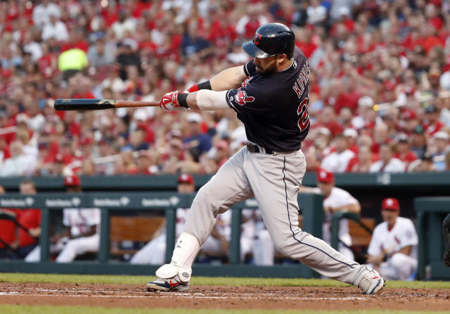 Cleveland Indians' Jason Kipnis follows through on an RBI single during the third inning of the team's baseball game against the St. Louis Cardinals on Wednesday, June 27, 2018, in St. Louis. (AP Photo/Jeff Roberson)
