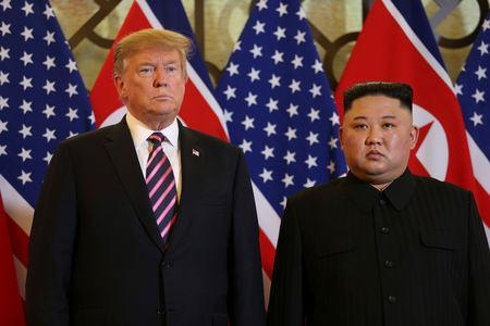 U.S. President Donald Trump and North Korean leader Kim Jong Un pose before their meeting during the second U.S.-North Korea summit at the Metropole Hotel in Hanoi, Vietnam February 27, 2019. REUTERS/Leah Millis