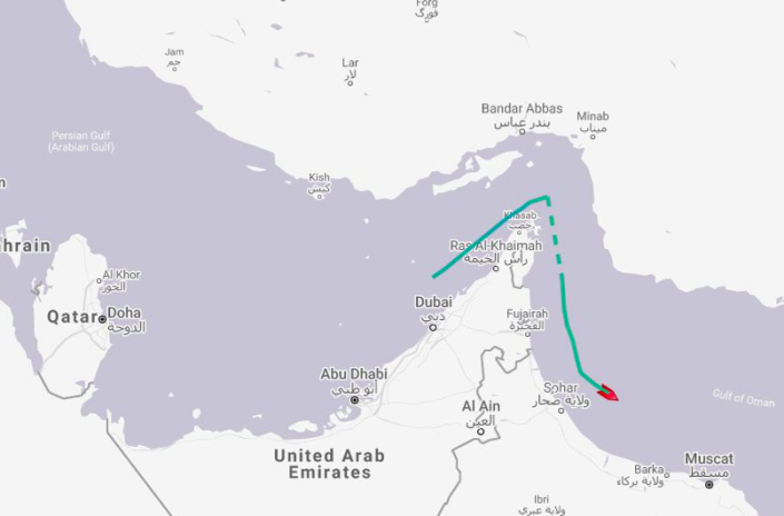 The route of the oil tanker British Heritage through the Straits of Hormuz (PA)