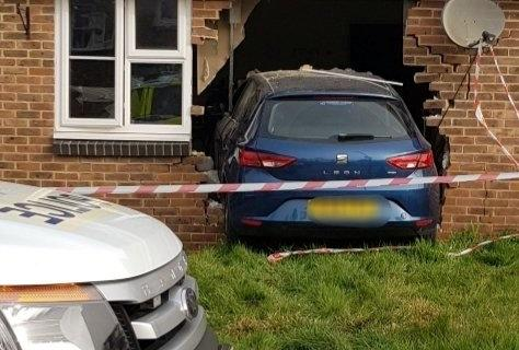 The Seat Leon that crashed into a bungalow Sussex. (SWNS)