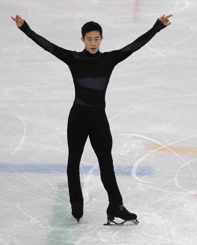 <p>United States' Nathan Chen performs in the men's single short program team event at the 2018 Winter Olympics in Gangneung, South Korea, Friday, Feb. 9, 2018. (AP Photo/Julie Jacobson) </p>