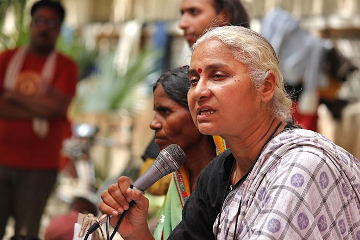 Activist Medha Patekar and supporters of Narmada Bachao Andolan staging a protest against raising height of Narmada dam at Jantar Mantar on June 25, 2014 in New Delhi, India.   Virendra Singh Gosain/Hindustan Times via Getty Images