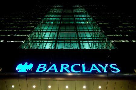 FILE PHOTO: The Barclays headquarters building is seen in the Canary Wharf business district of London