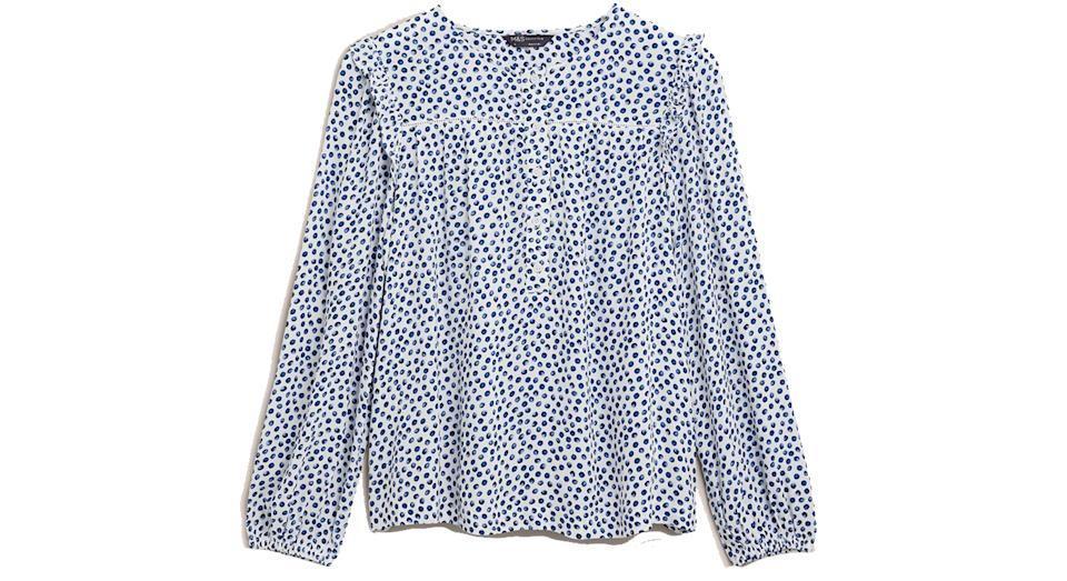 Polka Dot Frill Detail Blouse