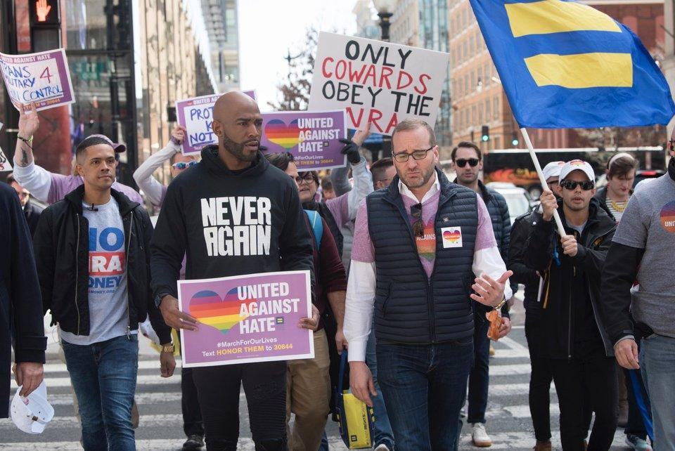 Karamo Brown, center, and Brandon Wolf march with the Human Rights Campaign on Saturday at the March for Our Lives in Washington, D.C. (Photo: Human Rights Campaign/Facebook)