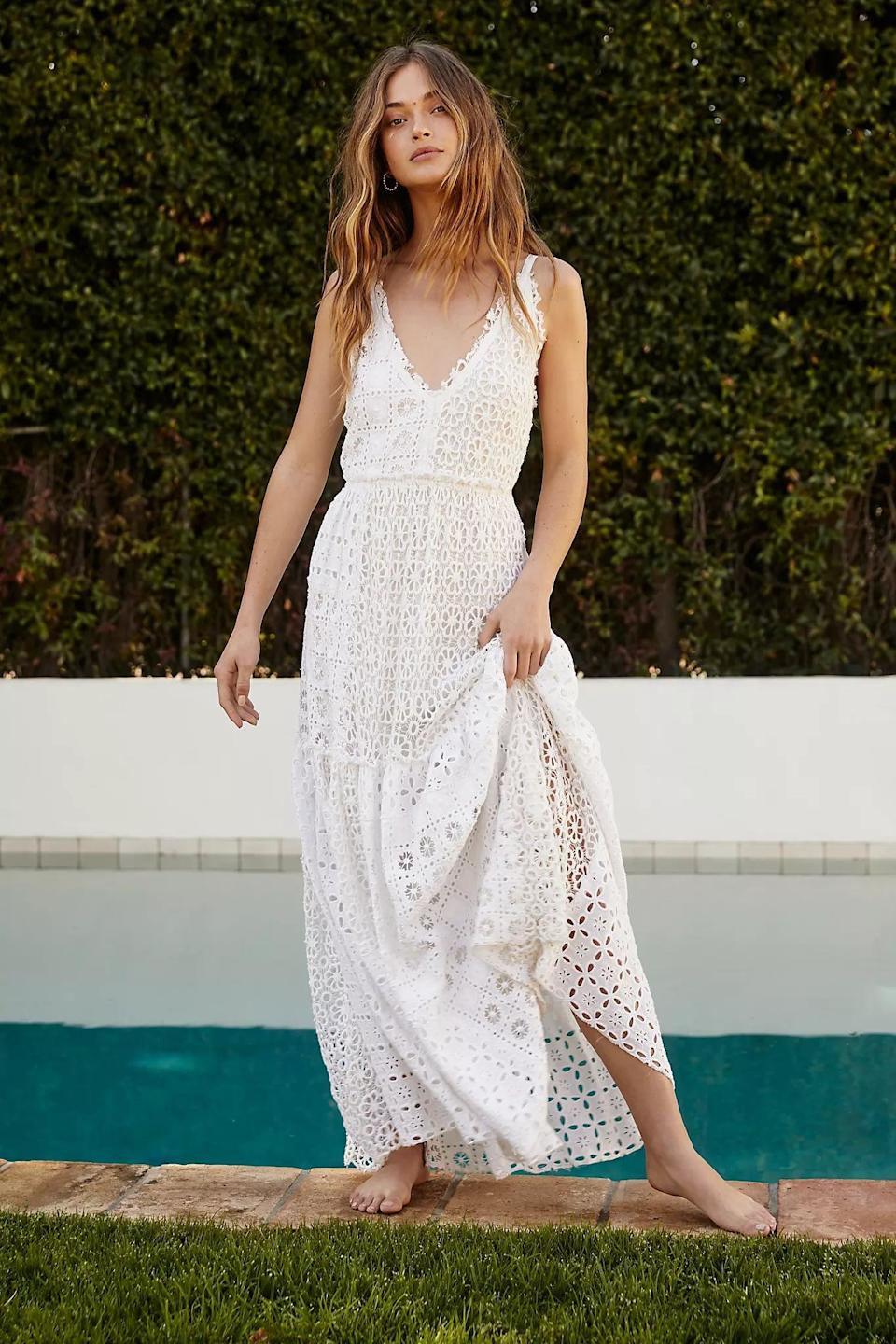 """<p>Put on a pair of heels or casual flip flops and rock this <a href=""""https://www.popsugar.com/buy/FP-One-Yesenia-Dress-579975?p_name=FP%20One%20Yesenia%20Dress&retailer=freepeople.com&pid=579975&price=350&evar1=fab%3Aus&evar9=33517892&evar98=https%3A%2F%2Fwww.popsugar.com%2Ffashion%2Fphoto-gallery%2F33517892%2Fimage%2F47532447%2FFP-One-Yesenia-Dress&list1=shopping%2Csummer%2Clace%2Csummer%20fashion&prop13=api&pdata=1"""" class=""""link rapid-noclick-resp"""" rel=""""nofollow noopener"""" target=""""_blank"""" data-ylk=""""slk:FP One Yesenia Dress"""">FP One Yesenia Dress</a> ($350).</p>"""