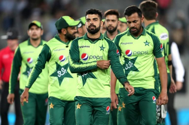 Pakistan's stand-in captain Shadab Khan (centre) vowed his side would do better next time out