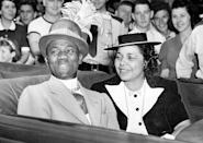 <p>Bill Robinson (Bojangles) and his wife in a car at the New York Worlds Fair, New York City. </p><p>Other celebrity visitors this year: Mae West, Fred Astaire.</p>