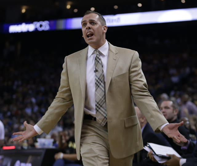 Indiana Pacers coach Frank Vogel gestures on the sidelines during the second half of an NBA basketball game against the Golden State Warriors Monday, Jan. 20, 2014, in Oakland, Calif. (AP Photo/Ben Margot)