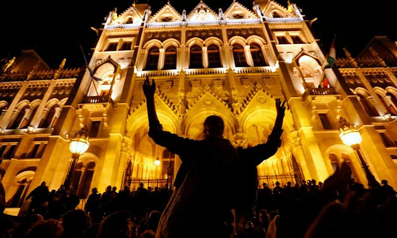 Protest outside the Hungarian parliament in Budapest