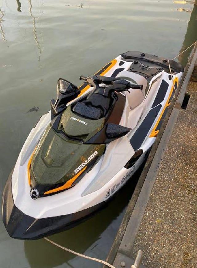 The jetski used by Steven Brogan and  Anthony Reilly, who have been jailed after attempting to cross the North Sea on a jet ski with £200,000 of cocaine in a backpack