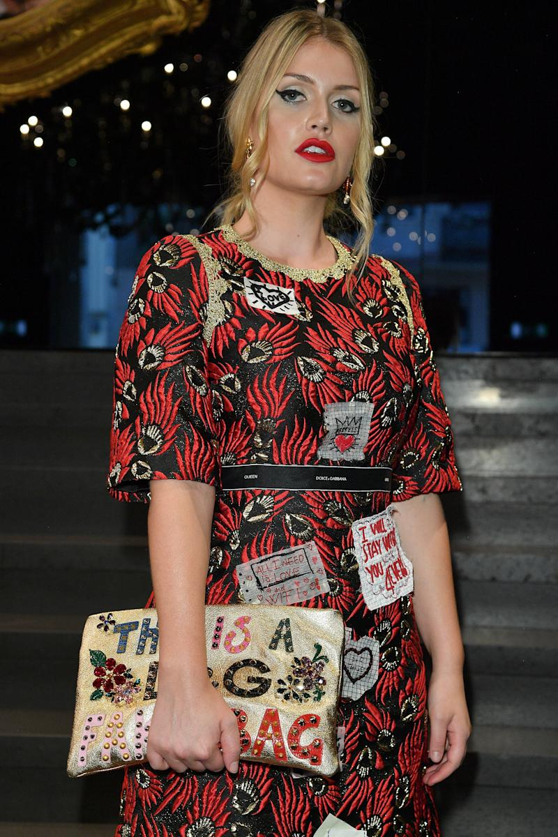 Kitty Spencer attends the Dolce & Gabbana show during Milan Fashion Week on September 24 in Milan, Italy.  (Venturelli via Getty Images)