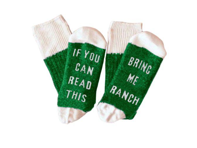 "Buy the <a href=""https://www.flavourgallery.com/collections/hidden-valley-ranch/products/hidden-valley-ranch-statement-socks"" target=""_blank"">ranch statement socks</a> for $12"