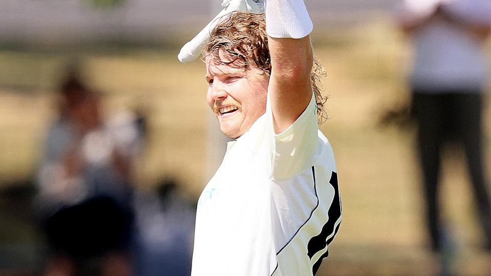 Victorian batsman Will Pucovski is pictured celebrating his Sheffield Shield double century against Western Australia.