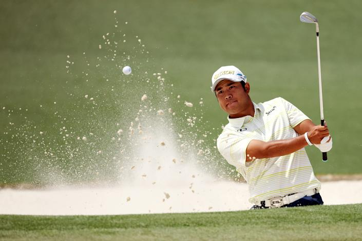 AUGUSTA, GEORGIA - APRIL 11: Hideki Matsuyama of Japan plays a shot from a bunker on the second hole during the final round of the Masters at Augusta National Golf Club on April 11, 2021 in Augusta, Georgia. (Photo by Kevin C. Cox/Getty Images)