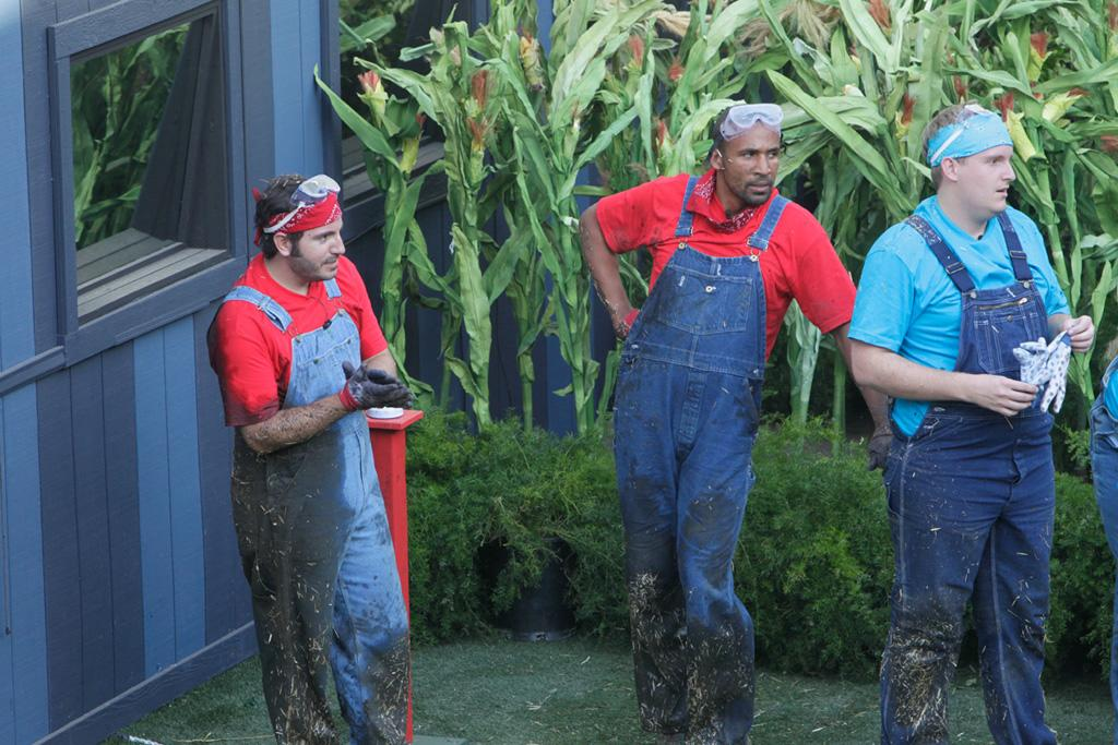 """Post victory, doused in hay and mud. Yes, I realize that I resemble Super Mario in my red tee and blue overalls. Tragic!<br><br><a href=""""http://tv.yahoo.com/big-brother-14/show/48722/videos/29862192"""">Check out the PoV ceremony</a><span></span>"""