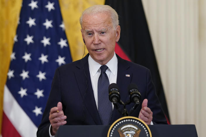 President Joe Biden speaks during a news conference with German Chancellor Angela Merkel in the East Room of the White House in Washington, Thursday, July 15, 2021. (AP Photo/Susan Walsh)