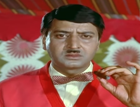 As the West-inspired, comically evil Navrangi Lal in the family drama starring Sunil Dutt and Nutan.