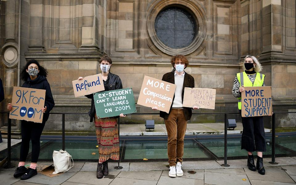 Edinburgh University students protest in the light of the Covid -19 pandemic, against the false promise of hybrid learning - Jeff J Mitchell/Getty Images