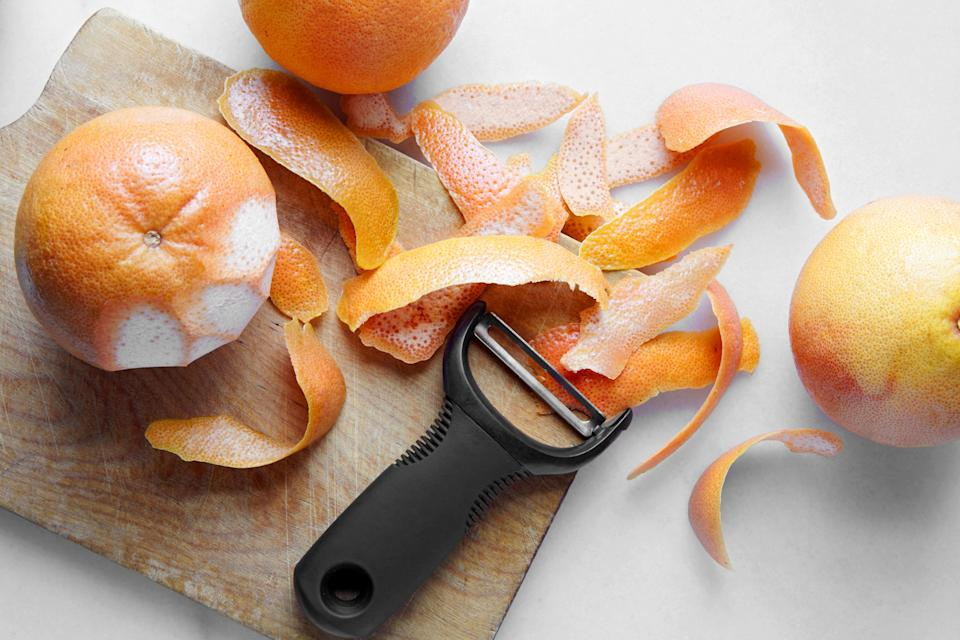 """<h1 class=""""title"""">Saving Citrus Peels - HERO</h1> <div class=""""caption""""> These peels are headed to the freezer. </div> <cite class=""""credit"""">Photo and Styling by Joseph De Leo</cite>"""