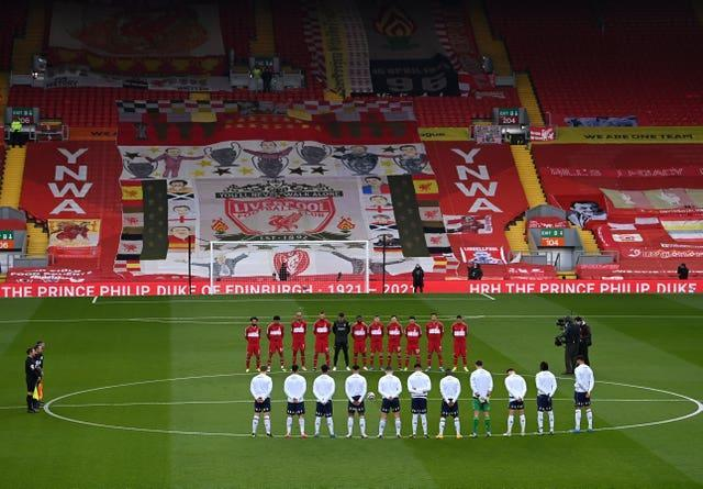 Liverpool and Aston Villa stand in tribute to the late Duke of Edinburgh