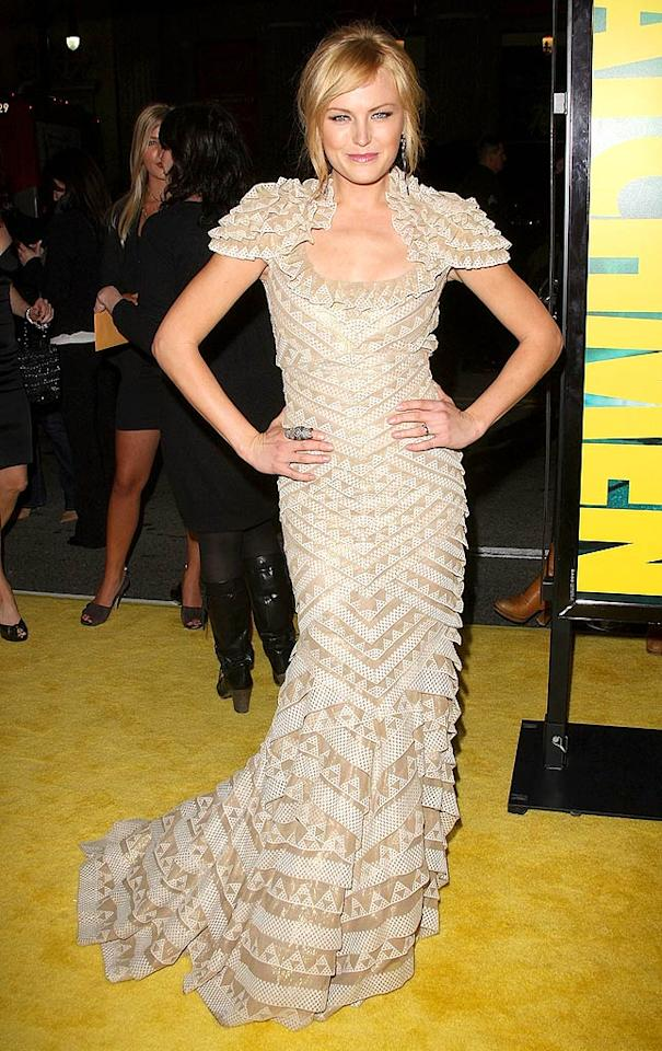 """""""Watchmen"""" star Malin Akerman is ab fab. The beige ruffled Rami Kashou gown she chose for the film's premiere was anything but. Jason Merritt/<a href=""""http://www.gettyimages.com/"""" target=""""new"""">GettyImages.com</a> - March 2, 2009"""