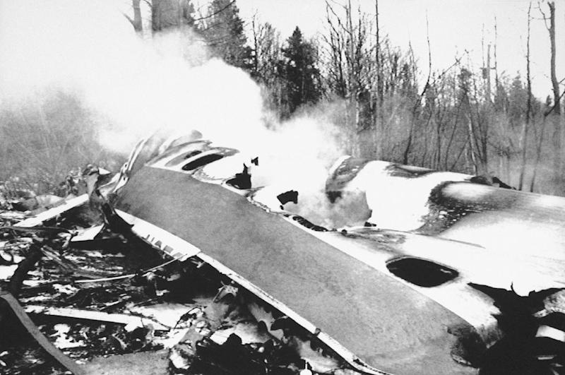 FILE - This Dec. 12, 1985, file photo, shows the wreckage of Arrow Air Flight 1285 after the plane crashed in Gander, Newfoundland, killing all 256 passengers and crew on board. The plane crash was among Canada's deadliest accidents in the last 150 years, killing 256. Police say 50 people are presumed dead following a July 6, 2013, fiery oil train crash in Lac-Megantic, Quebec, making it Canada's worst railway crash in nearly 150 years. (AP Photo, File)