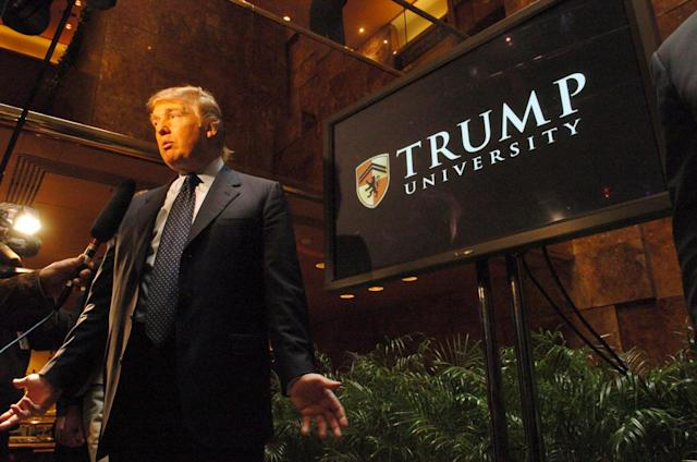 <p>Trump speaks at a press conference to announce Trump University, which will offer classes for business professionals by top scholars, at Trump Tower on May 23, 2005, in New York City. <i>(Photo: Dan Herrick/KPA/ZUMA Press)</i> </p>