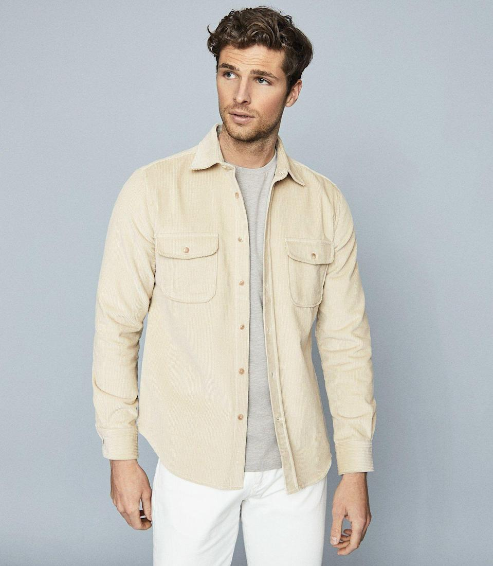 """<p><strong>Reiss</strong></p><p>reiss.com</p><p><strong>$195.00</strong></p><p><a href=""""https://go.redirectingat.com?id=74968X1596630&url=https%3A%2F%2Fwww.reiss.com%2Fus%2Fp%2Fcorduroy-overshirt-mens-maldini-in-oatmeal-white&sref=https%3A%2F%2Fwww.townandcountrymag.com%2Fstyle%2Ffashion-trends%2Fg32622659%2Fcool-jackets-for-men%2F"""" rel=""""nofollow noopener"""" target=""""_blank"""" data-ylk=""""slk:Shop Now"""" class=""""link rapid-noclick-resp"""">Shop Now</a></p><p>Corduroy is having a moment. We hope everyone else is as thrilled about that as we are. A corduroy shirt-jacket is the perfect answer to those pesky not-too-warm but not-too-cool spring and fall days. An unexpected color like oatmeal gives this retro overshirt a delightfully modern twist.</p>"""