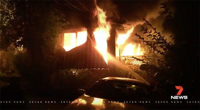 A Watsonia family were frying chips when the oil caught alight, spilling onto carpet and igniting their home. Source: 7 News