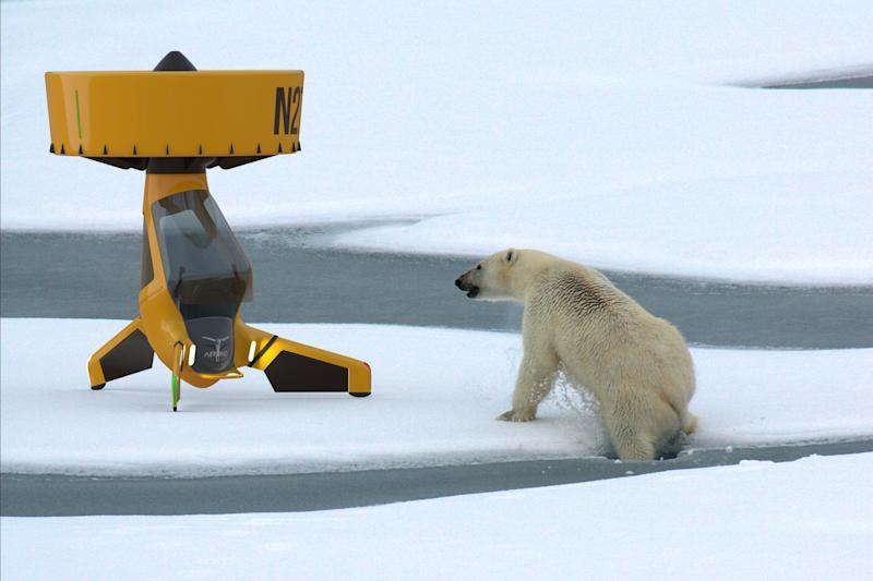 This image shows one of the possible uses for the AirVinci drone, performing research in the Arctic. (AirVinci)