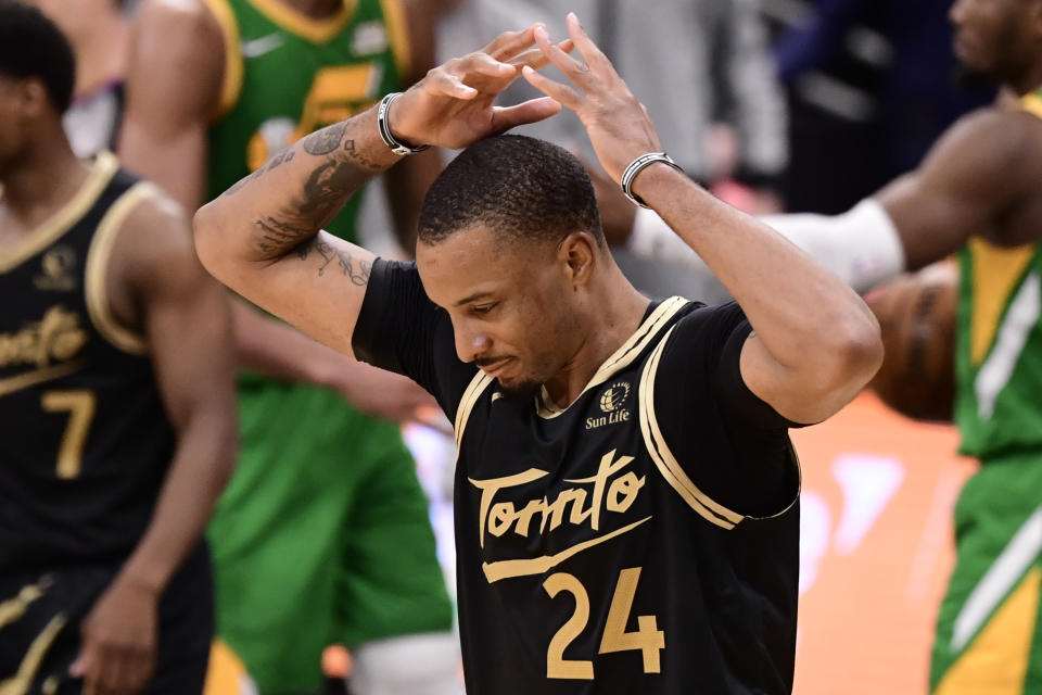 TAMPA, FLORIDA - MARCH 19: Norman Powell #24 of the Toronto Raptors reacts during the fourth quarter against the Utah Jazz at Amalie Arena on March 19, 2021 in Tampa, Florida. NOTE TO USER: User expressly acknowledges and agrees that, by downloading and or using this photograph, User is consenting to the terms and conditions of the Getty Images License Agreement. (Photo by Douglas P. DeFelice/Getty Images)