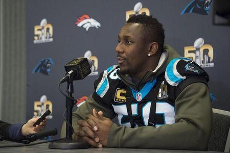 FILE PHOTO: February 4, 2016; San Jose, CA, USA; Carolina Panthers outside linebacker Thomas Davis (58) addresses the media in a press conference prior to Super Bowl 50 at San Jose Convention Center. Mandatory Credit: Kyle Terada-USA TODAY Sports / Reuters Picture Supplied by Action Images