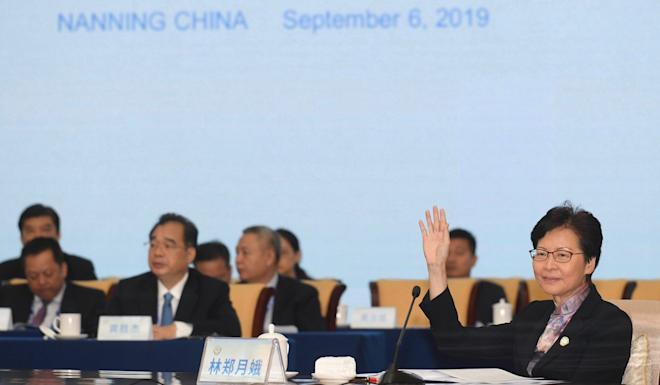 Carrie Lam at the meeting which kicked off on Friday. Photo: Handout