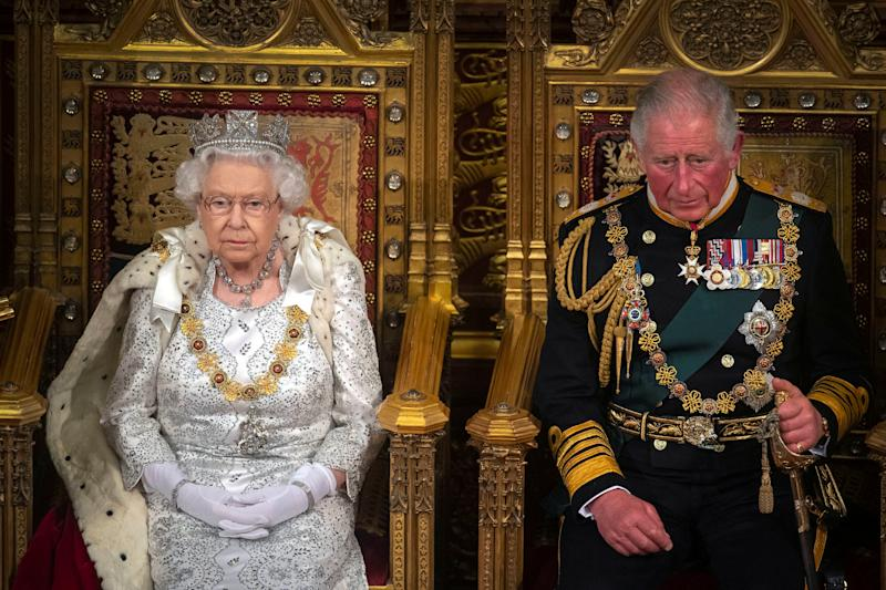 Britain's Queen Elizabeth and Charles, the Prince of Wales are seen during the State Opening of Parliament in the House of Lords at the Palace of Westminster in London, Britain October 14, 2019. Victoria Jones/Pool via REUTERS