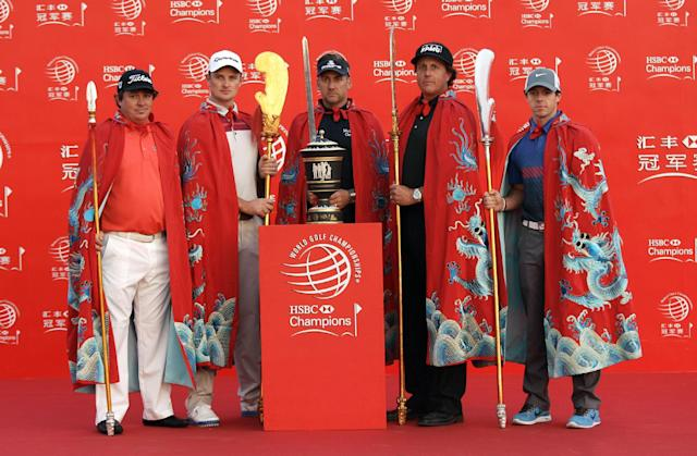From left to right, Jason Dufner of the United States, Justin Rose of England, Ian Poulter of England, Phil Mickelson of the United States, Rory McIlroy of Northern Ireland, pose for photographers during a photo call of the HSBC Champions golf tournament Tuesday, Oct. 29, 2013 in Shanghai, China. The golf tournament will be held at Shanghai Sheshan International Golf Club from Oct. 31 to Nov. 3. (AP Photo)