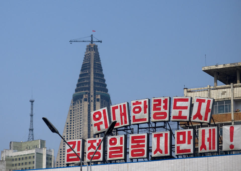 PYONGYANG, NORTH KOREA - APRIL 18: Construction of the pyramid-shaped Ryugyong hotel, Pyongan Province, Pyongyang, North Korea on April 18, 2008 in Pyongyang, North Korea. (Photo by Eric Lafforgue/Art In All Of Us/Corbis via Getty Images)